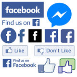 All Facebook signs logos. Facebook related logos and apps in one page of vectors stock illustration