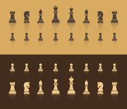All figures are chess. In brown shades, with a shadow in the form of reflection. Flat style. stock illustration