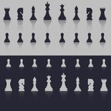 All figures are chess. In cold shades, with a shadow in the form of reflection. Flat style. Royalty Free Stock Photos