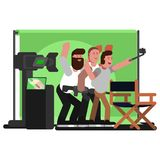 All filming crew doing selfie. Vector illustration, EPS 10 Royalty Free Stock Image