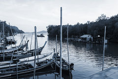All fishing boat in the sea, Black and white tone Royalty Free Stock Photo