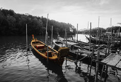 All fishing boat in the sea, Two tone filter Royalty Free Stock Photos