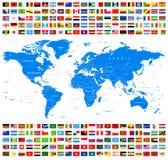 All flaggor och världskarta Azur Arkivbilder