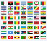 All flags of the countries of Africa. Rectangle glossy style. All flags of the countries of Africa. Rectangle glossy style Stock Photography