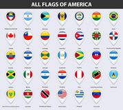 All flags of the countries of America. Pin map pointer glossy style. Vector illustration Stock Images