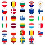 All flags of the countries of the European Union. Round glossy style Stock Photo