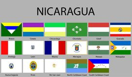 all Flags of departments of Nicaragua vector illustration