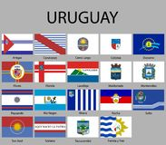 All Flags of departments of Uruguay. Vector illustraion stock illustration