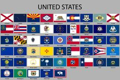 all Flags of the United States of America stock illustration