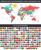 All flags of the world in alphabetical order and Detailed world map with borders, countries, large cities. / Royalty Free Stock Photography