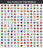 All flags of the world in alphabetical order. Round, circle glossy style. Vector illustration vector illustration