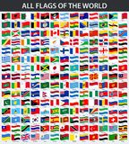 All flags of the world in alphabetical order. Waving style. Vector illustration stock illustration