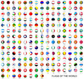 All flags of the world. 3d round flags  on white background Stock Images