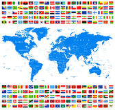All Flags and World Map. Azur. Stock Images