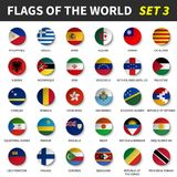 All flags of the world set 3 . Circle and concave design.  Stock Images
