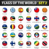 All flags of the world set 3 . Circle and convex design.  Stock Images