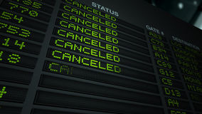 All Flights Canceled - Information Board stock footage