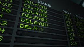 All Flights Delayed, Flight Information Board stock video footage
