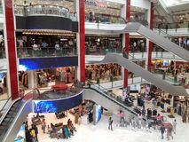 All floors of the Mall with people stock photography