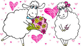 All flowers for you. Sheep-boy gives flowers to the sheep-girl. It's really love Stock Photo