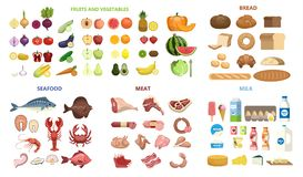 All food set. Fruits and vegetables, meat and diary, seafood and bread royalty free illustration