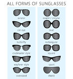 All forms of sunglasses. All forms / types of fashionable sunglasses. Types sunglasses. Vector Stock Photo