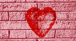 A red heart on a purple wall