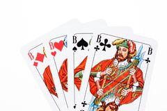 All four Jacks from the card game. Skat stock image