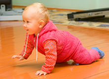On all fours. Little child creeps on the floor on all fours Royalty Free Stock Images