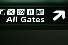 All Gates. Directional sign at an airport reads All Gates Royalty Free Stock Images