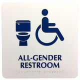 All gender restroom sign with brail. All gender generic bathroom plaque sign indicating handicap accessible. Braille alphabet along the bottom for visually royalty free stock photography