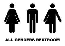All gender restroom sign. Male, female transgender. Vector illustration. Black symbols isolated on white. Mandatory banner stock illustration