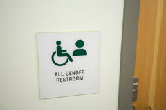 All Gender Restroom. Sign at a school indoors showing that all genders are equal here stock images