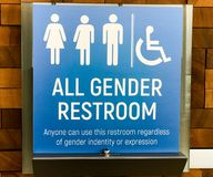 All Gender Restroom Sign in Vancouver, British Columbia. In Canada royalty free stock image