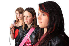 All girl teenage musical band Stock Image