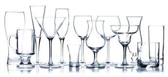 all glass exponeringsglasserie för coctail Arkivbilder