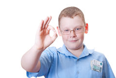 All is good. Boy shows a sign all is well Stock Images