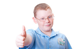 All is good. Boy shows a sign all is well Royalty Free Stock Photo