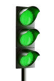All green traffic light Stock Images