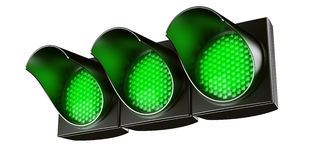 All green traffic light Stock Photos