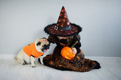 All Hallows Eve. Little girl in suit of the evil sorcerer sits on floor and irons an amusing pug. All Hallows Eve. Little girl in a suit of the evil sorcerer royalty free stock photo