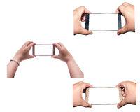 All hand with smartphone isolated, Clipping path Royalty Free Stock Photo