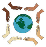 All hands holding world vector Royalty Free Stock Photo