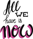 All We Have is Now Motivation Phrase Royalty Free Stock Photo