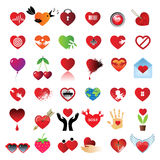 All-heart. Set from 36 hearts. Different symbols and signs Royalty Free Stock Photography