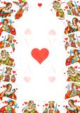 All hearts. Old European hearts playing cards elements as Valentine's Day or other background Stock Photography