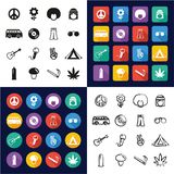 All hippie i en symboler uppsättning för design för svart- & vitfärglägenhet Freehand vektor illustrationer