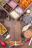All for holiday baking. The ingredients for a festive sweet home-baked Royalty Free Stock Photo