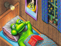 All I Ever Wanted. Sad frog with book in bed looks to a starry window Stock Photo