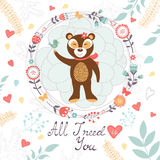 All I need is you romantic card with cute bear and Stock Image